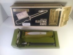 PENNCREST DELUXE Electric Knife In Holder, Nice - Vintage Olive, Original Box in Collectibles, Kitchen & Home, Kitchenware | eBay