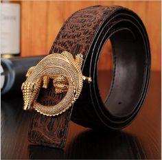 2015 Cinto genuino cinturones de cuero de marca para hombre para hombre cinturones de lujo cinturones de diseño hombres de cocodrilo de la alta calidad de la correa de diamantes