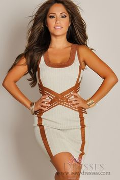 Designer Sleeveless Copper and Buttercream Mod Knit Dress