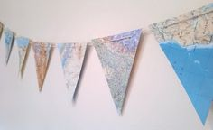 Map Garland Paper Bunting Banner ~ 14 Flags / Pennants ~ Party Decor Travel Bon Voyage Decoration World Map on Etsy, $13.87