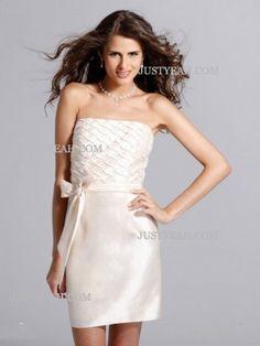 Princess Strapless Satin Junior Bridesmaid Dresses
