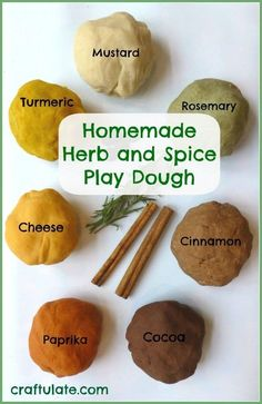 Use herbs and spices to scent and colour this homemade all natural play dough! Homemade herb and spice play dough. I thought this was cool since they would smell a lot nicer than regular play dough. Sensory Activities, Hands On Activities, Preschool Activities, Sensory Rooms, Sensory Art, Nature Activities, Motor Activities, Activities For The Elderly, Edible Sensory Play