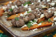 Food Lust People Love: Grilled Lamb Skewers with Roasted Carrots #SundaySupper