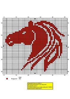 #gráfico ponto cruz #ponto cruz #cavalo CHEVAL-ROUGE.jpg