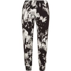 Exelle Black / Grey Plus Size Printed stretch trousers ($98) ❤ liked on Polyvore featuring black and plus size