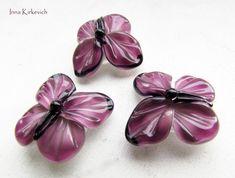 BUTTERFLIES pink lampwork beads 3 artisan by InnaKirkevich on Etsy