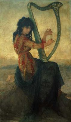 'Muse Playing a Harp' - Antoine Auguste Ernest Hébert