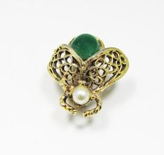 Whimsical Vintage 1950s Gold Toned Faux Jade and by GildedTrifles