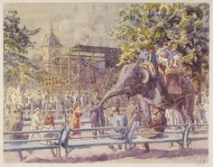 Elephant Riding, Zoological Gardens, Regent's Park, London; Recording Britain   Bayes, Walter   V&A Search the Collections