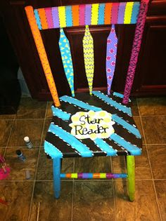 Author's Chair for sharing and celebrating writing/reading Hand Painted Chairs, Painted Stools, Hand Painted Furniture, Funky Furniture, Paint Furniture, Furniture Projects, Vintage Furniture, Painted Teacher Chair, Teacher Chairs
