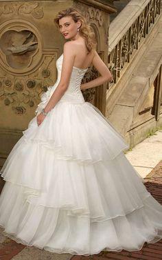 Ärmelloses trägerloser Ausschnitt romantisches sexy Brautkleid aus Organza