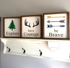 Large Wood Sign  Explore Have Courage Be Brave  by dustinshelves