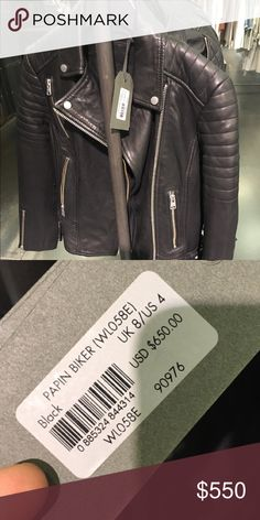 All Saints Papin Biker Leather Jacket Brand new, worn once.  Comes with original tags.  Selling because jacket is just too small for me.  It's absolutely stunning!  Sadly I didn't realize the US sizing and bought according to the U.K. sizing.  Jacket was purchased at Bloomingdales in NYC.  Worn once, it is in pristine, like new condition.  Soft buttery leather, bracelet length sleeve, just amazing!  Retails for $650 + NY state sales tax is 8.875%.  Please make reasonable offer accordingly…