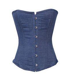 UrHot Strapless Blue Overbust Body Shapewear Jeans Corset...