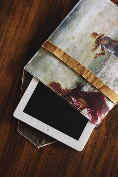 painted canvas ipad case or clutch -- (inspired by anthro)