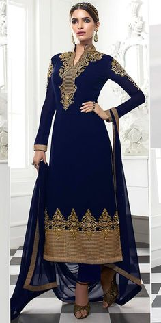 Delightful Navy Blue And Beige Georgette Salwar Suit.