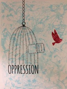 "Thanks to Hannah Wilson for sharing this amazing artwork with us! Hannah, a student at University of South Alabama, created ""Oppression"" to be displayed in a Half the Sky exhibit on campus."
