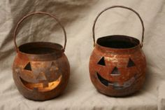 Vintage Metal Halloween Pumpkin Decoration Signed Hosley Candle Holders