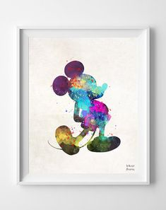 Mickey Mouse Print Disney Watercolor Poster Art by InkistPrints Watercolor Disney, Watercolor Walls, Watercolor Paintings, Tattoo Watercolor, Disney Tattoos, Mouse Tattoos, Son Tattoos, Family Tattoos, Arrow Tattoos