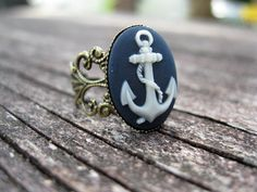 Anchors Away Nautical Inspired Ring by RindCounty on Etsy, $7.00