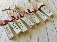 Set of 8 Farmhouse Christmas Word Ornaments Farmhouse style Christmas word ornaments, each measuring 2 inches long x slightly over an inch wide. White chalk paint over wood, then distressed and finally stamped with a Christmas word. Christmas Words, 3d Christmas, Christmas Signs, Diy Christmas Ornaments, Christmas Balls, Homemade Christmas, Diy Christmas Gifts, Holiday Crafts, Diy Christmas Projects