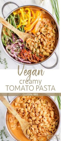 Vegan Creamy Tomato Pasta / This gluten free pasta is am easy one pot pasta reci. - Eat wellVegan Creamy Tomato Pasta / This gluten free pasta is am easy one pot pasta recipe. Smothered in a dairy free creamy tomato pasta sauce, and loaded with sa Vegan Dinner Recipes, Vegan Dinners, Whole Food Recipes, Cooking Recipes, Healthy Recipes, Veggie Pasta Recipes, Pasta Recipes Dairy Free, Easy Vegan Meals, Healthy Food