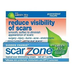 Sudden Change Scar Zone Topical Scar Diminishing Cream, with Green Tea Added, 1 oz (28 g) (Pack of 2) by Scar Zone. $16.68. Formulated with moisturizers and silicone skin protectant.. Green Tea Super Antioxidant Helps Restore Damaged Skin. Reduce Visibility of Scars. Smooth, soften to Diminish Appearance of Scars:surgery,injury,burns,acne,stretchmarks.. SPF15 helps protect scars from sun. Guaranteed results. Reduce visibility of scars. Smooth, soften to diminish appearance of...