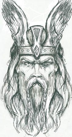 Odin Sketch by PlunderedPsyche dios antiguo vikingo                                                                                                                                                                                 Más