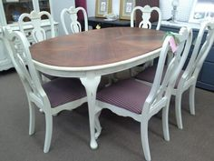 $395 Oval table with 1 additional leaf and 6 chairs - Painted creamy white, Distressed with wood stained top. New Upholstery on all chairs.  ***** In Booth C2 at Main Street Antique Mall 7260 E Main St (east of Power RD on MAIN STREET) Mesa Az 85207 **** Open 7 days a week 10:00AM-5:30PM **** Call for more information 480 924 1122 **** We Accept cash, debit, VISA, Mastercard, Discover or American Express