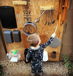 Declan is rather obsessed with making music and rather than hush him (while baby sleeps), I decided to go with some yes parenting and create a music wall outside for him. The best part was rummaging through the house banging on things to find the sounds we were looking for