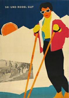 Good Skiing and Sledging, 1957 - original vintage poster by Hans-Dieter Petereit listed on AntikBar.co.uk