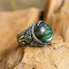 Aurora Sterling Silver Labradorite Ring with Aquamarines MADE TO ORDER, labradorite jewelry, aquamarine ring, gemstone ring,mineral ring