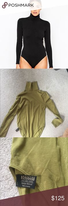 Olive green mock neck wolford bodysuit Slight stain on sleeve Wolford Tops
