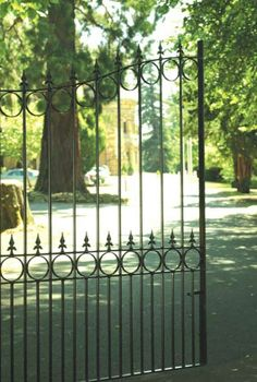 Royal Talisman wrought iron driveway gates by The Garden Gate Sale Iron Fence Gate, Wrought Iron Driveway Gates, Driveway Entrance, Metal Gates, Wrought Iron Gate Designs, Garden Gates And Fencing, Farm Gate, Iron Doors, Side Gates
