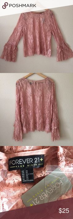 NWT 3x plus size bell sleeve lace top Plus size 3x be with tags . A Woven Top Featuring A Sheer Floral Lace, Long Tiered Bell Sleeves, A Round Neckline, A Back Button Closure With A Keyhole Detail, And A Scalloped Eyelash Lace Hem. Dusty rose pink color Forever 21 Tops