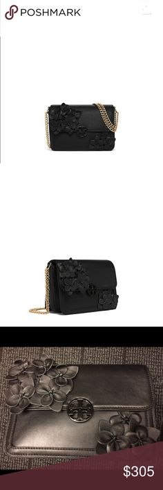 """Tory burch Chain Flower Convertible Shoulder Bag New and authentic!!! Tory burch Our Duet Chain Flower Convertible Shoulder Bag.    Holds a continental wallet, an iPhone 6 Plus and a lip color Leather with floral appliqués Magnetic snap closure Adjustable chain strap with 23.31"""" (58.5 cm) drop 2 interior slit pockets, 1 zipper pocket Height: 6.57"""" (16.5 cm) Length: 8.96"""" (22.5 cm) Depth: 3.59"""" (9 cm) Tory Burch Bags Shoulder Bags"""