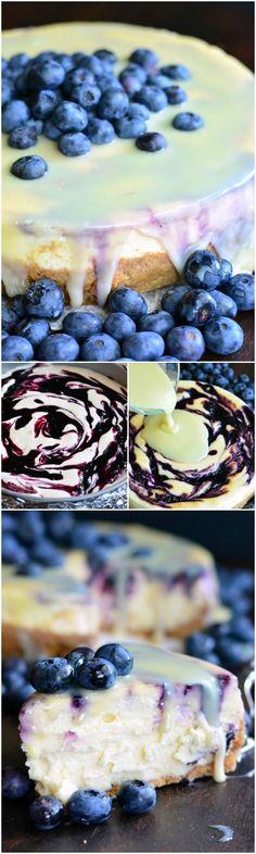 White Chocolate Blueberry Cheesecake. Smooth, silky cheesecake that's swirled with homemade blueberry jam, filled with white chocolate chips, and topped with white chocolate ganache.