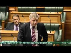 Witty and funny, really worth watching NZ MPs hilarious gay marriage speech. 'Big gay rainbow across my electorate' New Zealand MP Maurice Williamson uses the power of laughter to show his support for the gay marriage bill.