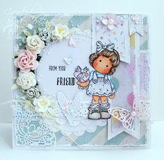 OOAK Magnolia Handmade Card - Tilda With Wrapped Heart by ASprinklingOfGlitter on Etsy