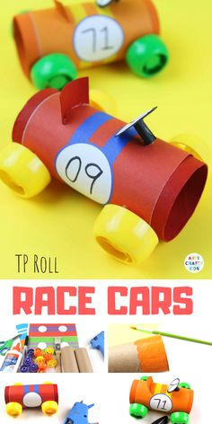 Paper Tube Racing Cars : Paper Tube Racing Cars - Craft Ideas for Kids - A cool car craft for kids using the humble toilet tube! Cute Kids Crafts, Crafts For Kids To Make, Toddler Crafts, Projects For Kids, Art Projects, Cardboard Tube Crafts, Paper Roll Crafts, Do It Yourself Organization, Crafty Kids