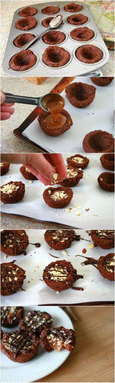 Salted Caramel Dark Chocolate Cookie Cups