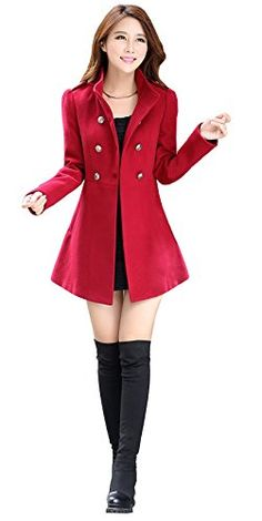 $46.88 Alralel Women Wool Blend Turn Down Collar Double-breasted Waisted Overcoat Coat L Red Alralel http://www.amazon.com/dp/B00NF5T8PU/ref=cm_sw_r_pi_dp_y6xrub039BD4N