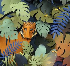 This wonderful paper collage-sculpture by Hattie Newman. Repinned by Elizabeth VanBuskirk. Inspiration for a school project depicting a scene for one of the three zones in Peru: the eastern jungle. Research first for good learning. Jungle Art, Jungle Scene, Jungle Pattern, Jungle Decorations, Paper Decorations, Book Crafts, Paper Crafts, Paper Art, Music Paper