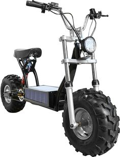 This particular electric scooter is called The Beast and comes with a solar powered battery pack chargeable via sunlight or a trickle charger.