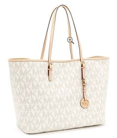 Michael Kors Jet Set Travel Logo Tote Vanilla