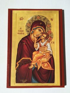 Our Lady Theotokos Mother Of God - handmade orthodox byzantine icon Byzantine Icons, Our Lady, Christian, God, Handmade, Painting, Ebay, Collection, Kids