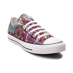 You'll be a bohemian beauty with the new Chuck Taylor All Star Lo Mandala Sneaker from Converse! These crazy-cool Chucks feature a low-top design constructed with breathable canvas uppers, vibrant Mandala prints, and signature Chucks rubber cap-toe. <b>Only available at Journeys and SHI by Journeys!</b>  <br><br><u>Features include</u>:<br> > Low top style constructed with durable canvas uppers<br> > Lace-up closure offers a secure fit<br> > Chucks rubber toe box for protection and…