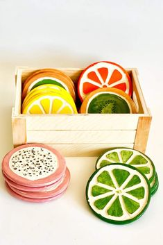 Adorable set of 4 ceramic mixed fruit coasters. Each coaster is shaped and painted by hand, size and color may vary. Coaster are about Ceramic Clay, Ceramic Painting, Ceramic Pottery, Pottery Art, Painted Pottery, Pottery Painting Ideas, Pottery Designs, Pottery Ideas, Painted Ceramics