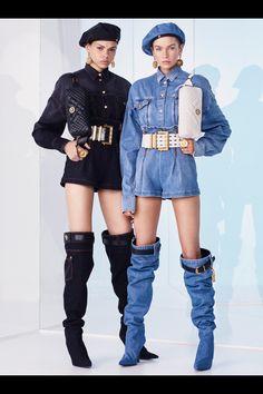The complete Versace Resort 2019 fashion show now on Vogue Runway. 1990s Fashion Trends, Kpop Fashion, Denim Fashion, Runway Fashion, High Fashion, Fashion Outfits, Womens Fashion, Cruise Fashion, Latex Fashion