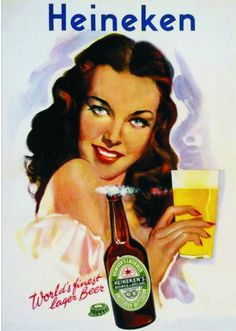 Love the illustration in this vintage Heineken ad.